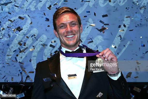 Dane HaylettPetty poses with the Nathan Sharpe medal during the Western Force 2016 Nathan Sharpe Medal Dinner at HBF Arena on August 6 2016 in Perth...