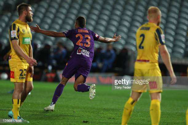 Dane Ingham of Perth Glory celebrates a goal during the round 29 ALeague match between the Perth Glory and the Central Coast Mariners at Central...
