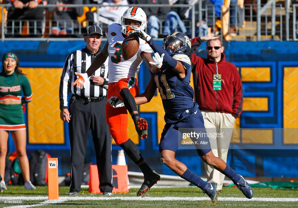 Dane Jackson #11 of the Pittsburgh Panthers knocks down a pass to Mike Harley #3 of the Miami Hurricanes on November 24, 2017 at Heinz Field in Pittsburgh, Pennsylvania.