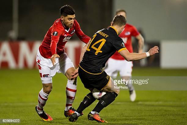 Dane Massey of Dundalk and Alireza Jahanbakhsh of AZ during the UEFA Europa League Group D match between Dundalk FC and AZ Alkmaar at Tallaght...
