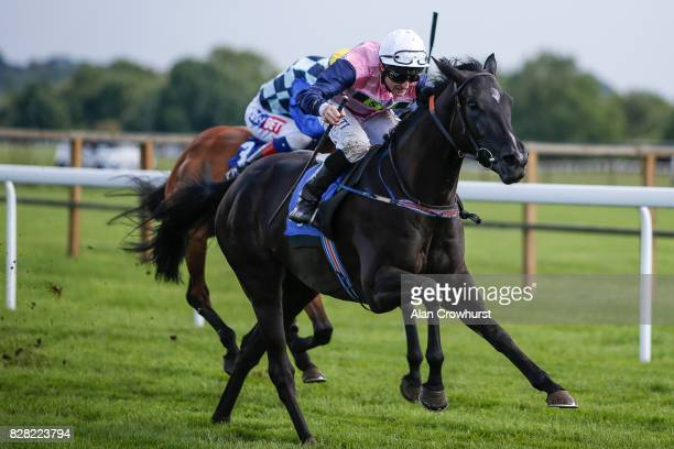 Dane O'Neill riding Drumochter win The David Leighs 10Yrs At True Clarity Filliesâ Handicap Stakes at Bath racecourse on August 9 2017 in Bath England