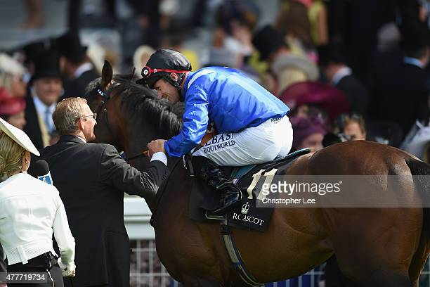 Dane O'Neill riding Muhaarar celbrates after he wins The Commonwealth Cup during Day 4 of Royal Ascot 2015 at Ascot Racecourse on June 19 2015 in...