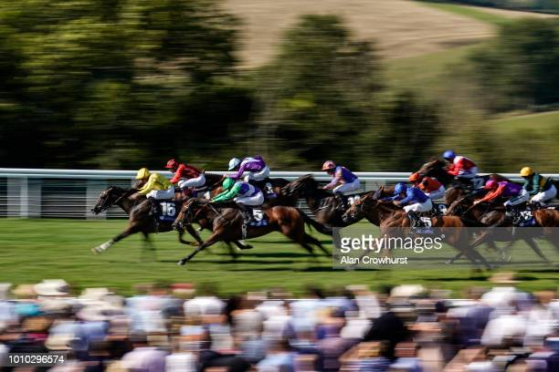 Dane ONeill riding Pretty Baby win The L'Ormarins Queens Plate Oak Tree Stakes at Goodwood Racecourse on August 3 2018 in Chichester United Kingdom