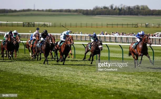 Dane OâNeill riding Sawwaah win The bet365 Wood Ditton Maiden Stakes at Newmarket racecourse on April 19 2018 in Newmarket England