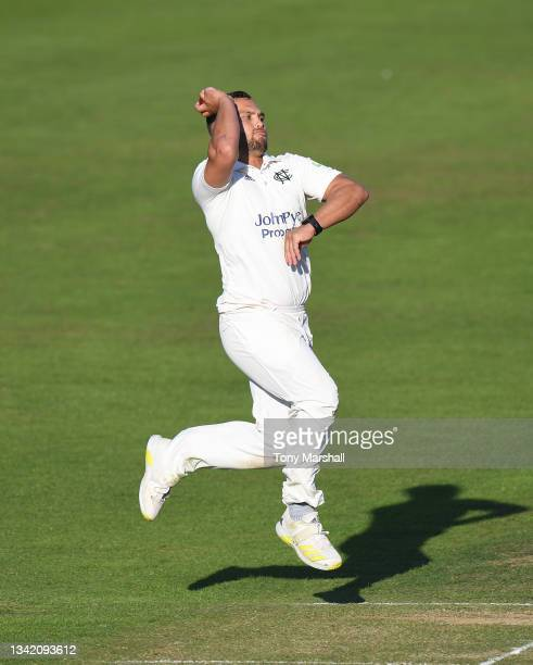 Dane Paterson of Nottinghamshire bowls during the LV= Insurance County Championship match at Trent Bridge on September 23, 2021 in Nottingham,...