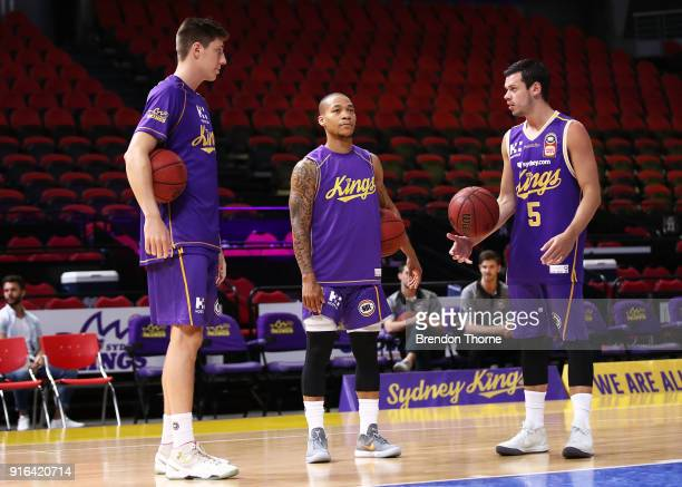 Dane Pineau Jerome Randle and Jason Cadee of the Kings warm up prior to the round 18 NBL match between the Sydney Kings and the Brisbane Bullets at...