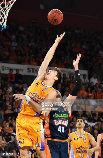 Dane Pineau of the Kings attempts to collect a rebound against Alex Loughton of the Taipans during the round 17 NBL match between the Cairns Taipans...