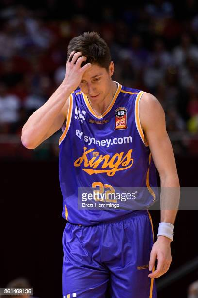 Dane Pineau of the Kings reacts during the round two NBL match between the Sydney Kings and the Illawarra Hawks at Qudos Bank Arena on October 15...