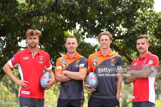 Dane Rampe and Jake Lloyd of the Sydney Swans and Tom Scully and Lachie Whitfield of GWS Giants pose during the Sydney AFLX launch at Allianz Stadium...