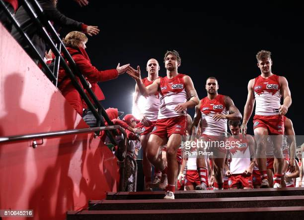 Dane Rampe of the Swans celebrates after the round 16 AFL match between the Sydney Swans and the Gold Coast Suns at Sydney Cricket Ground on July 8...