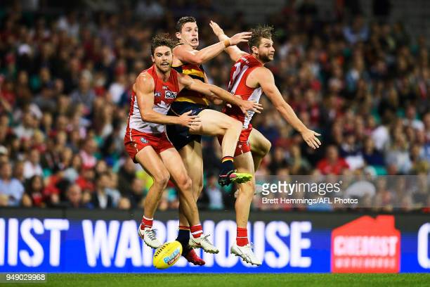 Dane Rampe of the Swans Harry Marsh of the Swans and Josh Jenkins of the Crows contest the ball during the round five AFL match between the Sydney...