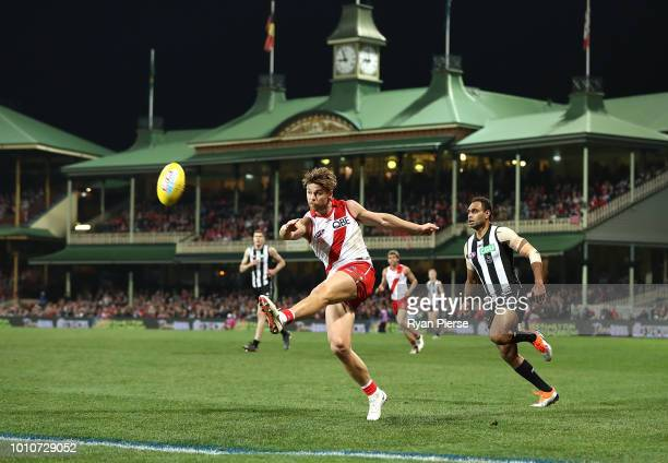 Dane Rampe of the Swans kicks during the round 20 AFL match between the Sydney Swans and the Collingwood Magpies at Sydney Cricket Ground on August 4...