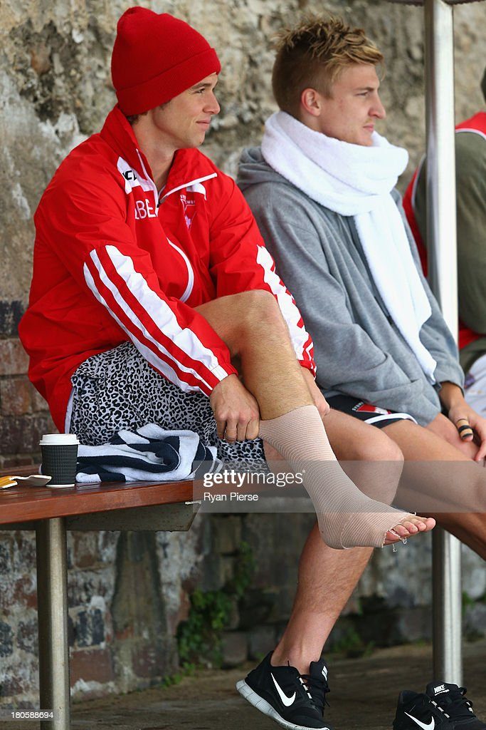 Dane Rampe of the Swans looks on during a recovery session at Coogee Beach on September 15, 2013 in Sydney, Australia.