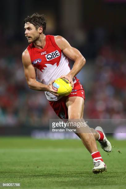 Dane Rampe of the Swans runs the ball during the round five AFL match between the Sydney Swans and the Adelaide Crows at Sydney Cricket Ground on...