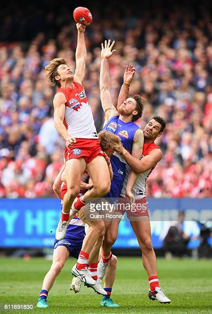 Dane Rampe of the Swans spoils a mark during the 2016 AFL Grand Final match between the Sydney Swans and the Western Bulldogs at Melbourne Cricket...