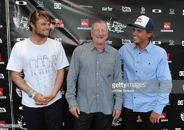 Dane Reynolds Bob McKnight and Julian Wilson attend Julian Wilson 'Scratching The Surface' Movie Premiere at Orange County Performing Arts Center on...