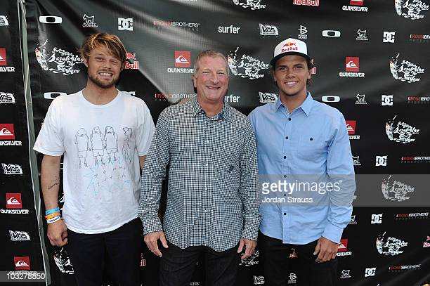 Dane Reynolds Bob McKnight and Julian Wilson attend Julian Wilson Scratching The Surface Movie Premiere at Orange County Performing Arts Center on...