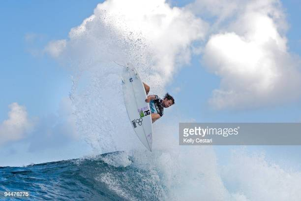 Dane Reynolds of the United States surfs on his way to defeating fellow American CJ Hobgood to reach the Semi Finals of the Billabong Pipeline...