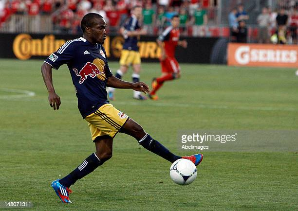 Dane Richards of the New York Red Bulls carries the ball during MLS action against Toronto FC at the BMO Field June 30 2012 in Toronto Ontario Canada