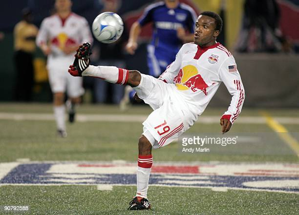 Dane Richards of the New York Red Bulls plays the ball against the Kansas City Wizards during their game at Giants Stadium on September 12 2009 in...