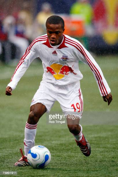 Dane Richards of the New York Red Bulls pushes the ball against the FC Dallas at Giants Stadium in the Meadowlands on April 15 2007 in East...