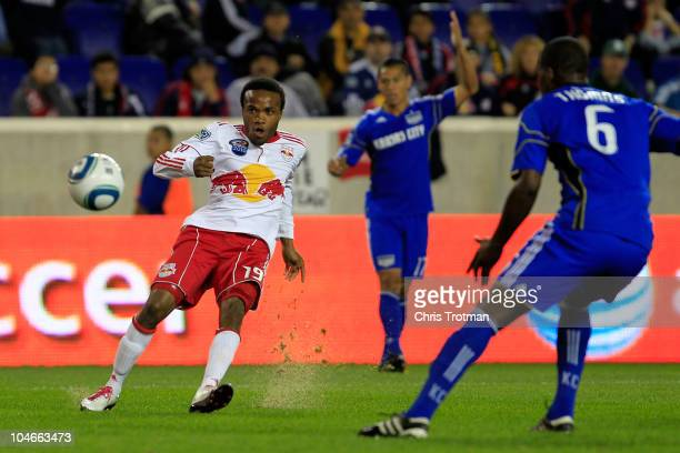 Dane Richards of the New York Red Bulls shoots and scores a goal against the Kansas City Wizards on October 2 2010 at Red Bull Arena in Harrison New...
