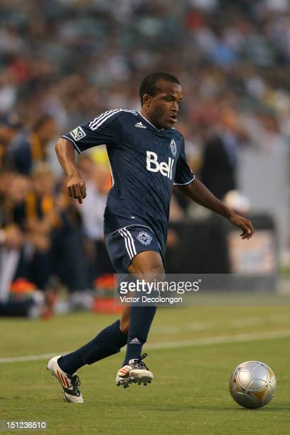 Dane Richards of the Vancouver Whitecaps controls the ball in the first half during the MLS match against the Los Angeles Galaxy at The Home Depot...