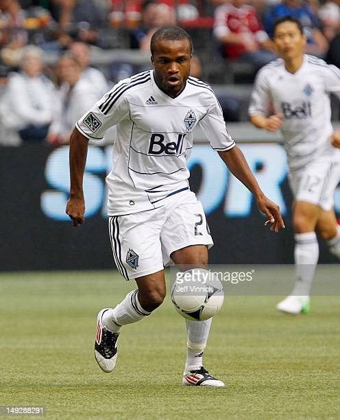 Dane Richards of the Vancouver Whitecaps FC dribbles the ball upfield during their MLS game against the San Jose Earthquakes July 22 2012 at BC Place...