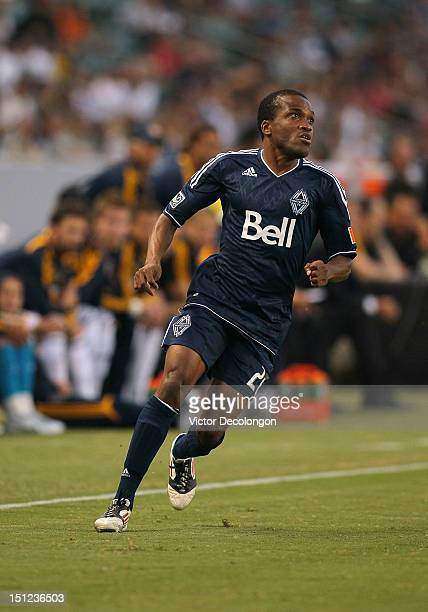 Dane Richards of the Vancouver Whitecaps tracks the ball in the first half during the MLS match against the Los Angeles Galaxy at The Home Depot...
