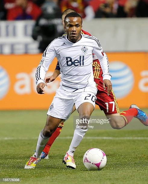 Dane Richards of Vancouver Whitecaps kicks the ball against Real Salt Lake during the second half of an MLS soccer game October 27 2012 at Rio Tinto...