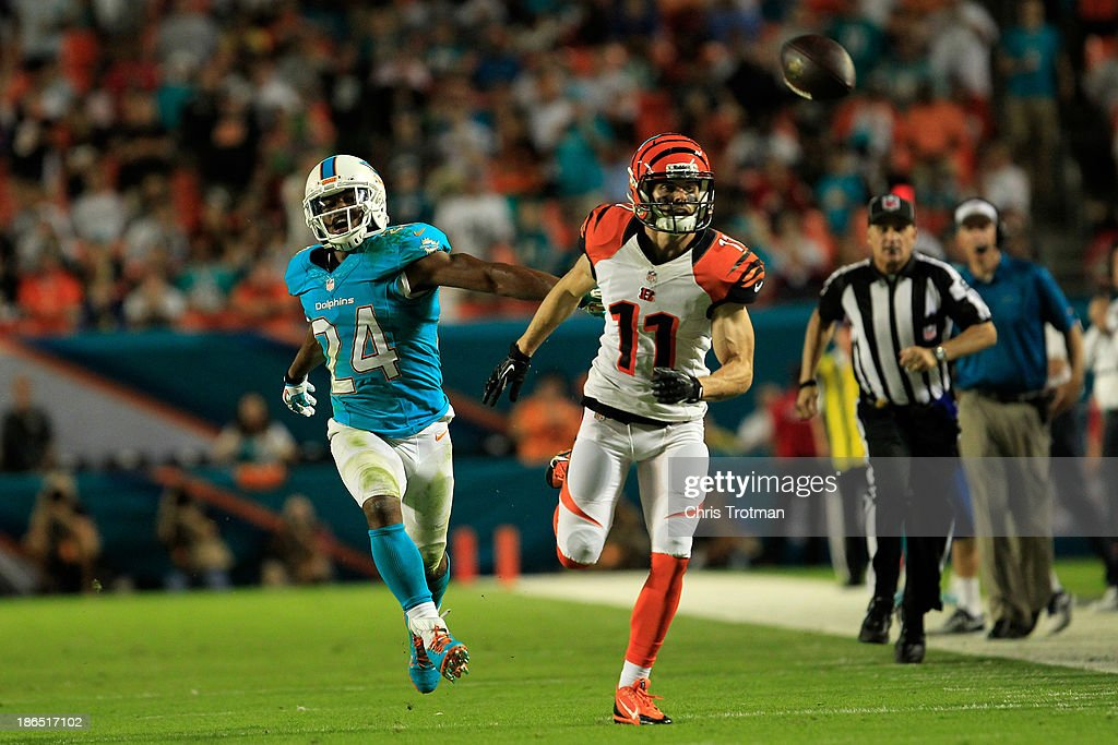 Dane Sanzenbacher #11 of the Cincinnati Bengals attempts to make a catch as (L) Dimitri Patterson #24 of the Miami Dolphins looks on at Sun Life Stadium on October 31, 2013 in Miami Gardens, Florida.
