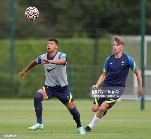 Dane Scarlett and Jack Clarke of Tottenham Hotspur during the Tottenham Hotspur pre-season training session at Tottenham Hotspur Training Centre on...