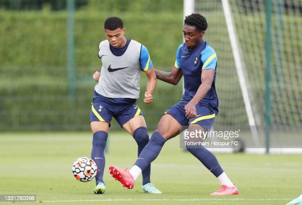 Dane Scarlett and Malachi Fagan-Walcott of Tottenham Hotspur during the Tottenham Hotspur pre-season training session at Tottenham Hotspur Training...