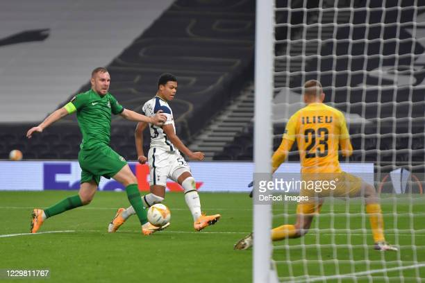 Dane Scarlett of Tottenham Hotspur and Cosmin Iosif MOTI of Ludogorets battle for the ball during the UEFA Europa League Group J stage match between...