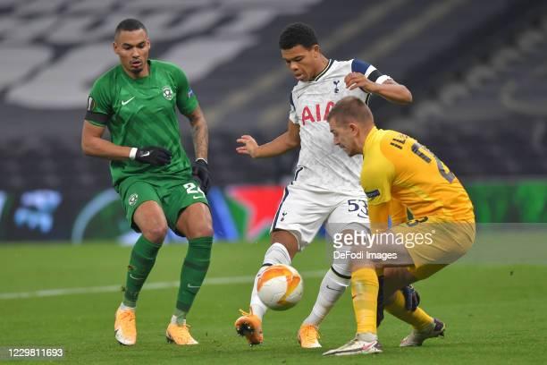 Dane Scarlett of Tottenham Hotspur goalkeeper Plamen ILIEV of Ludogorets and Olivier VERDON of Ludogorets battle for the ball during the UEFA Europa...