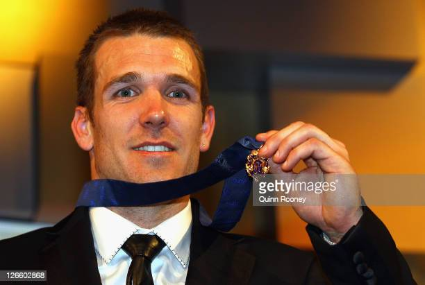 Dane Swan of the Magpies poses with the Brownlow Medal during the 2011 Brownlow Medal at Crown Palladium on September 26 2011 in Melbourne Australia