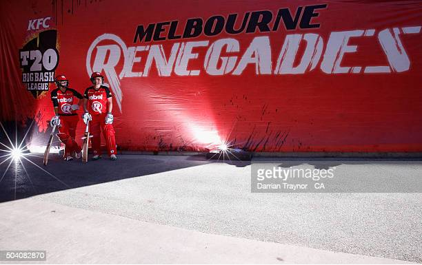 Dane Van Niekerk and Rachel Priest of the Renegades prepare to walk onto the griund before the Women's Big Bash League match between the Melbourne...