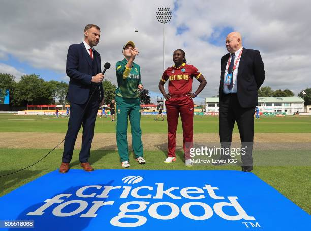 Dane van Niekerk Captain of South Africa and Stafanie Taylor Captain of West Indies pictured during the coin toss ahead of the ICC Women's World Cup...