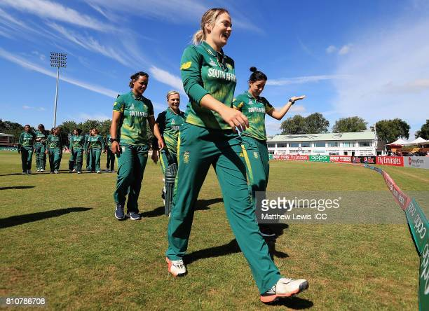 Dane van Niekerk of South Africa leads her team off the field during the ICC Women's World Cup 2017 match between South Africa and India at Grace...