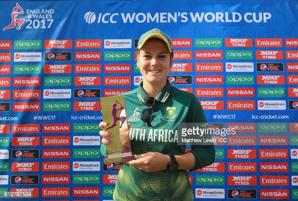 Dane van Niekerk of South Africa pictured with the 'Players of the Match' award after the ICC Women's World Cup 2017 match between South Africa and...