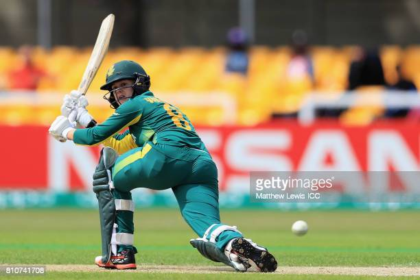 Dane van Niekerk of South Africa reverse sweeps the ball towards the boundary during the ICC Women's World Cup 2017 match between South Africa and...