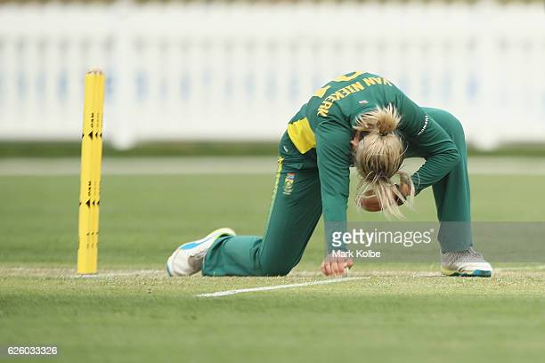 Dane van Niekerk of South Africa shows her frustration during the women's One Day International match between the Australian Southern Stars and South...