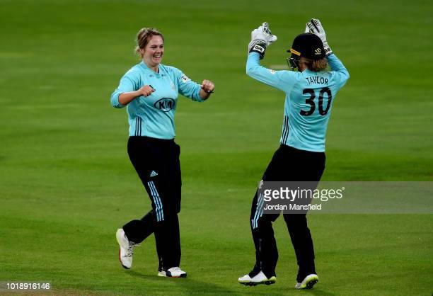 Dane van Niekerk of Surrey Stars celebrates with Sarah Taylor of Surrey Stars after dismissing Stafanie Taylor of Western Storm during the Women's...