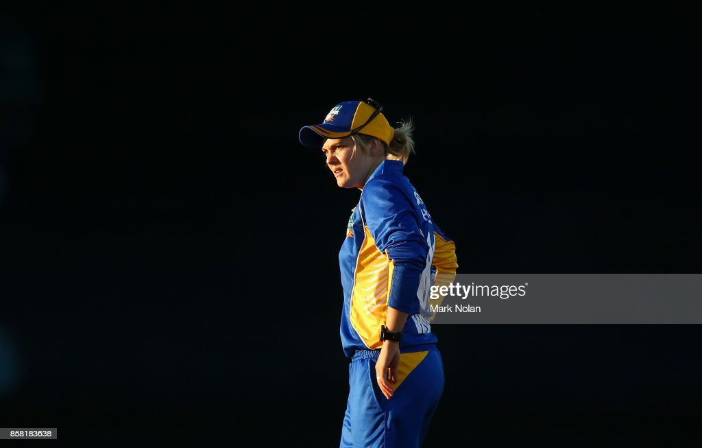 Dane Van Niekerk of the ACT fields during the WNCL match between ACT and Victoria at Manuka Oval on October 6, 2017 in Canberra, Australia.