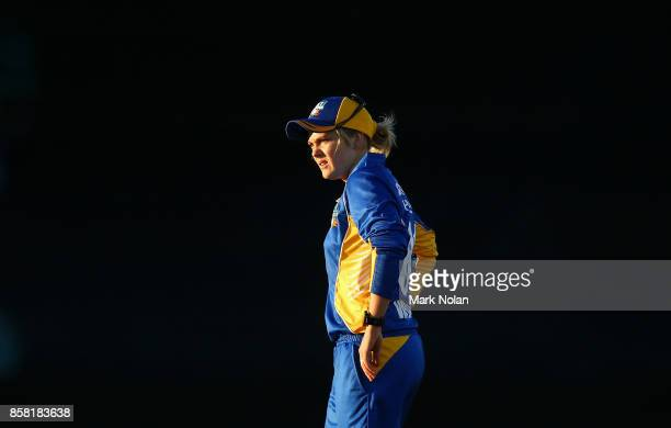 Dane Van Niekerk of the ACT fields during the WNCL match between ACT and Victoria at Manuka Oval on October 6 2017 in Canberra Australia