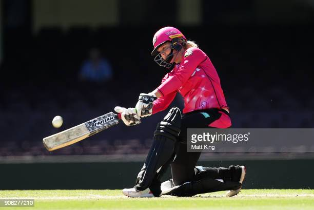 Dane Van Niekerk of the Sixers bats during the Women's Big Bash League match between the Sydney Sixers and the Brisbane Heat at Sydney Cricket Ground...