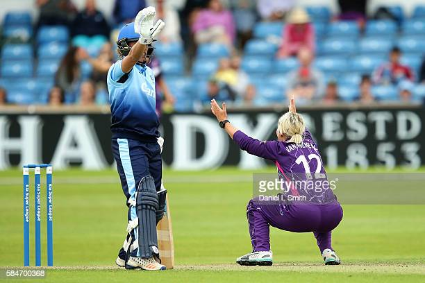 Dane van Nierkerk of Loughborough appeals to the umpire during the inaugural Kia Super League women's cricket match between Yorkshire Diamonds and...