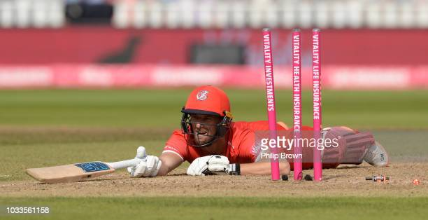 Dane Vilas of Lancashire after being run out during the Vitality T20 Blast first semi-final between Worcestershire Rapids vs Lancashire Lightnings at...