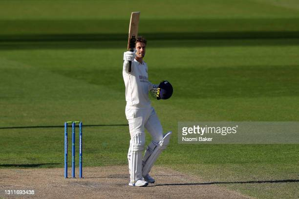 Dane Vilas of Lancashire celebrates towards his team after he completes his century during the during the LV= Insurance County Championship match...