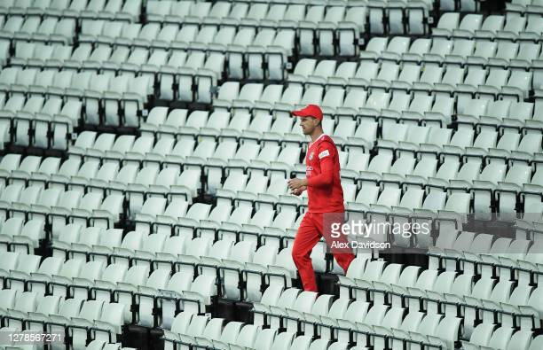 Dane Vilas of Lancashire retrieves a ball from the stands during the Vitality T20 Blast Semi Final between Notts Outlaws and Lancashire Lightning at...